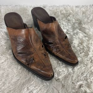 Carlos Brown Leather Mules Cutouts Western Sz 7